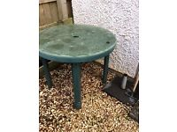 Green plastic garden table, 4xchairs and parasol holder