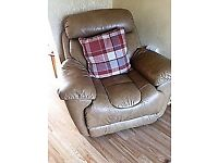 Beautiful leather 3 seater sofa and chair for sale.