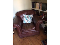 brown leather armchairs x 2