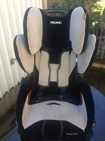 Recaro car seat. Suitible from a baby to the age of around 5 years.