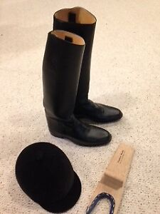 Men's riding boots and helmet