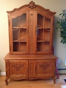 Country French Oak China Cabinet in excellent condition