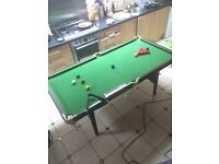 6ft by 4ft snooker table, includes balls, triangles, and score board. (Good condition)