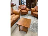 SUPERB LAURA ASHLEY MORTIMER SUITE 3, 2 & ARMCHAIR IN TAN LEATHER