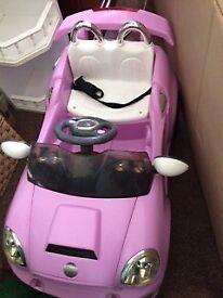 Pink Push along Car.( Battery not working ) Lights work.