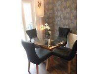 Oporto Circular Glass Dining Table & 4 Naples Dining Chairs