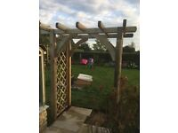 Wooden Garden Arch, solid construction, treated timber