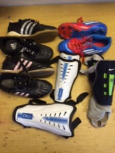 Soccer Equipment - shoes size 3 &4, Shinpads All for $50