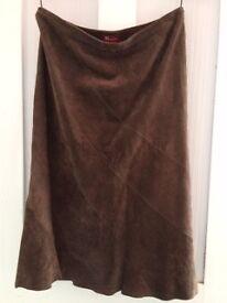 Vintage brown suede skirt and 3/4 length cardigan