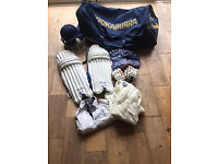 Boys cricket kit, bag with wheels, helmet, pads, gloves, wicket keeper gloves, clothing