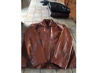 Tan Leather Bobmber Jacket