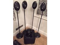 KEF egg speakers 5 speakers + subwoofer + 4 tall speaker stands