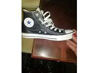 Blk leather Converse