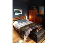 kingsize sturdy wooden double bed with mattress, superb condition