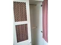 Shabby Chic White Wardrobe, Red/White Gingham Curtains