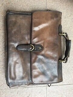 Genuine business leather bag-Brown