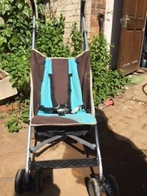 Sturdy Collapsible Stroller in good condition, portable and light to carry, used.