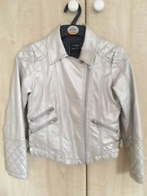 Leather look girls silver biker jacket aged 9-10 years