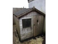 Used wooden garden shed for sale: exterior size approx. W.150cm; D.152cm; Wall H.125cm; Apex 175cm.