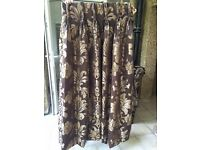 Curtains in Brown silk effect with gold motif