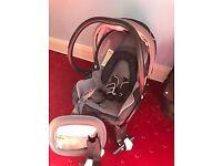Car Seat (Maxi Cosi) with Bugaboo Bee attachment, raincover and mirror
