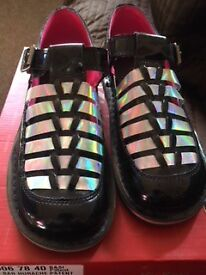 Kickers Black Patent, with hologram stripes size 6