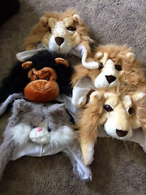 5 x Children's Animal Hats/Masks/Costumes -3 x Lion, Monkey & Cat- £12 the lot