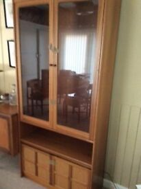 G Plan Display Cabinet - teak and glass, + base cupboard