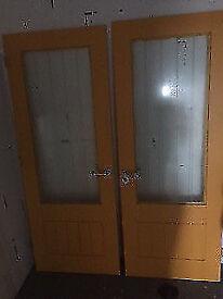 2 x Interior Office Wood Glass House Doors Door Handles Primed