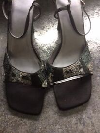M& S CHRISTMAS PARTY SEQUINED SHOES, WORN ONCE.