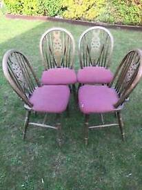 4 Old wheel back chairs