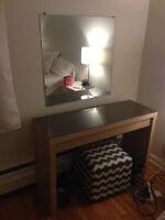 Vanity Table with drawer and glass top