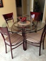 GLASS KITCHEN TABLE AND METAL CHAIRS FOR SALE