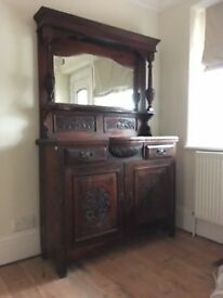ANTIQUE ART NOUVEAUX MAHOGANY MIRROR BACKED SIDEBOARD