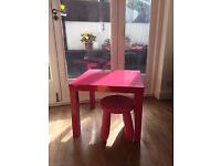 Small Table with pink stool