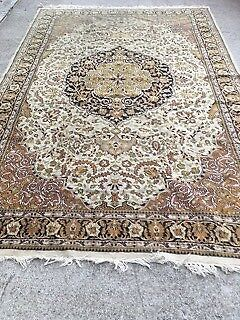 Persian Rug Nain Antique In Pure Wool Silk Hand Woven