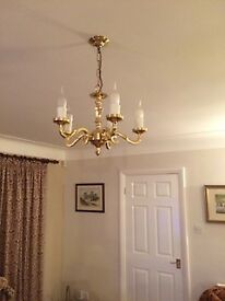 3 Arm Brass Suspended Ceiling Light Fitting