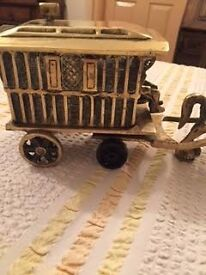 Vintage Solid Brass Horse and Wagon