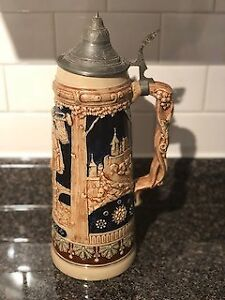 Germany Glass Stein with pewter lid