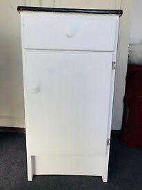 Vintage white kitchen unit with lovely yellow formica top