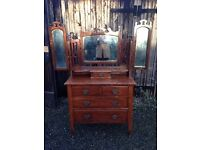 Vintage triple mirror dressing table/chest of drawers