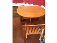 Table and chairs. Drop leaf