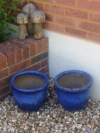 Blue Matching Plant Pots