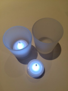 60 Frosted Votive Glass Candle Holders with Tea Lights