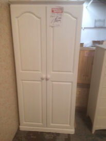 Solid pine painted white wardrobe
