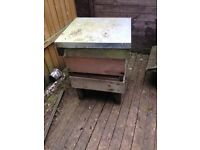National wooden used bee hive and stand