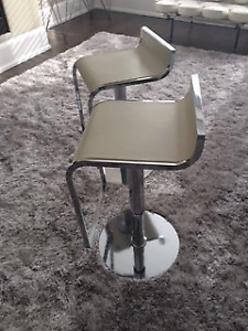Two cream leather bar stools - modern