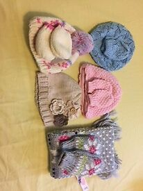 Bundle of girls winter hats and gloves ages 0-6 months