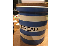 Bread Bin - Cornish Blue pottery with wooden lid - used but good condition