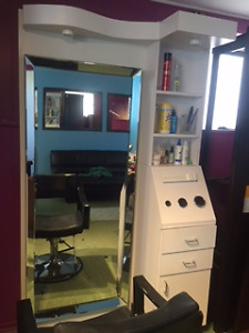 Salon Work Station  -  Mirror, Cabinet, Chair Roller cart